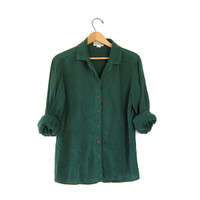 vintage button up blouse. dark green rayon shirt. long sleeve basic boho loose fit slouchy top. womens medium