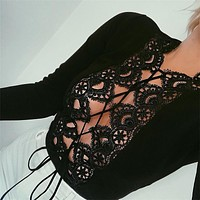 Strappy Hollow Out Bodysuit Women Black Long Sleeve Spring Lace Hot Bodysuits 2017 Slim Jumpsuit Cami Sexy Bodysuit Rompers