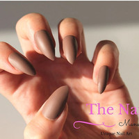 Chocolate Brown Matte Stiletto Nails - Fake Nails - Brown False Nails - available as Stiletto Nails, Oval Nails, Square Nails - Press On