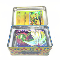 42pcs Box Playing Cards With Metal Box English Cards Pop Game Pikachu Go Random Figures Card Collection Toys for Children Gifts
