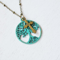patina tree of life,tree necklace,cross jewelry,family tree,tree of life jewelry,cross family jewelry,tree pendant,christmas gift,verdigris