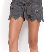 Letarte Crochet Short in Charcoal (L)