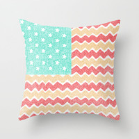 Zig Zag Flag. Throw Pillow by Nick Nelson | Society6