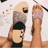 New summer women's slippers with rhinestone color matching sandals