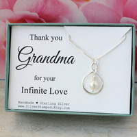 Gift for grandma gift sterling silver infinity necklace with a pearl Mother's Day gift box thank you grandma for your infinite love