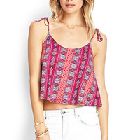 FOREVER 21 Tribal Print Knit Cami Red/Coral Large