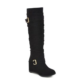 Buckle Belt Tall Boots Woman Shoes