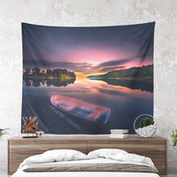 Wall Tapestry With Colorful Ocean Sunset Photography Print, Nautical, Large Wall Art, Home Decor, Nature, Wanderlust, Tranquil, Dorm Decor
