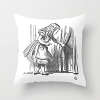 Vintage Alice in Wonderland 'looking for the door' antique book drawing emo goth fantasy gothic Throw Pillow by iGallery