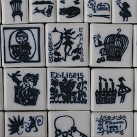 Classiky Porcelain Stamp Bird Cage , Rabbit Out , Birthday , Reading