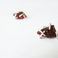 Raw Garnet Earrings Stone Stud Earrings Sterling Silver Zen Jewelry by SteamyLab