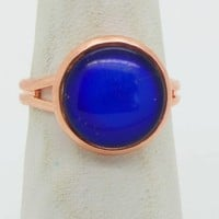 Round 8mm Mood Ring Copper Setting, Adjustable