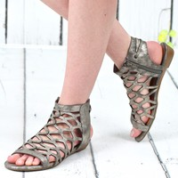 Savanna Distressed Metallic Caged Sandal {Pewter}