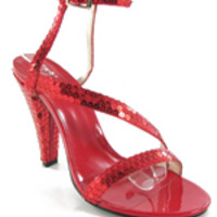 Ashlee Red Sequin Strappy Heels