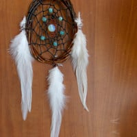Small Natural Dream Catcher with Opalite // Boho Hippie Gyspy Bed Room Decor