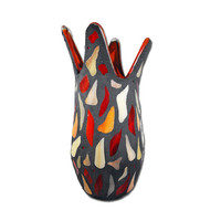 Mosaic Red Vase Stained Glass in red orange and by FischerFineArts