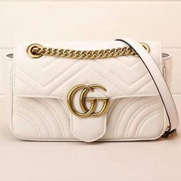 Gucci women's stylish leather shoulder bag beautifully F White