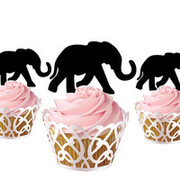 6 pcs in one set little elephant CupCake toppers for birthday party cake decor, acrylic cupcake toppers for baby shower, funny cake topper