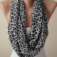 Mother's Day - Black and White Leopard Print Infinity Scarf -  Chiffon Fabric