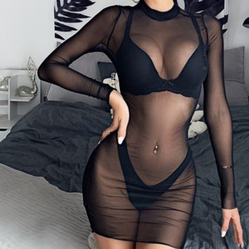 Hot selling sexy see-through mesh long sleeves hips show body wrap skirt
