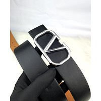 Valentino Tide brand women's classic letter buckle simple wild belt Black