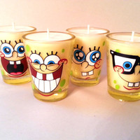 Spongebob Candles Set of 4 - Soy Shot Glass Candles - CHOICE OF SCENT