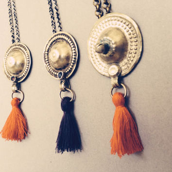 Tassel Necklace. Handmade Jewelry. Antique Tribal Button Ornament. Hammered Metal Work. Boho Style. Long layering necklace
