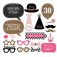 Wedding Party Decoration  30 Years Old Celebration Birthday Photo Booth Props 20Pcs Funny Mask Glasses Photography Event Favor