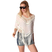 Cream Fringed Crop Top With Crochet Detailing LAVELIQ
