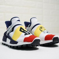 "BBC x Pharrell x adidas NMD Human Race Trail ""Whtie Red Yellow Navy"" Running Shoes F99766"