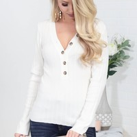 Blanca Ivory Ribbed Top