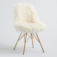 Ivory Faux Flokati Cypress Chair