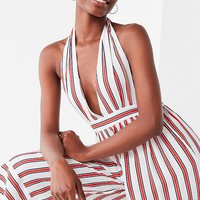 UO Raven Plunging Halter Jumpsuit | Urban Outfitters