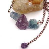 Raw Fluorite Necklace Copper Chain Chunky Bead Necklace Fall Necklace Purple Crystal Green Crystal Bohemian Jewelry FREE SHIPPING