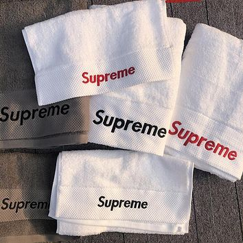 Supreme Trending Women Men Stylish Letter Embroidery Cotton Soft Water Absorption White Couple Towel Bath Towel I13484-1