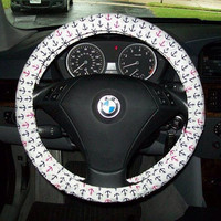 Navy and Hot Pink Anchors on White Steering Wheel Cover