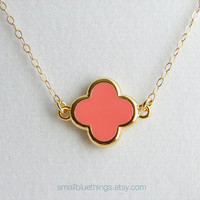 Simple Pink Clover Necklace. Small Quatrefoil with Gold Colored Trim. 14K Gold Filled Chain. Bridesmaid Gift