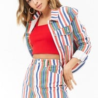 Multicolor Striped Denim Mini Skirt
