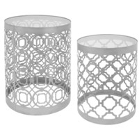 Two-piece Silver Metal and Glass Table Set
