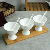 Antique 3-Pcs Ice Cream Bowl Set For Kitchen Decor