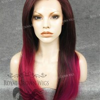 "24 inch Heat Safe Synthetic Straight Texture Lace Front ""Aphrodite"" in Burgundy Ombre"