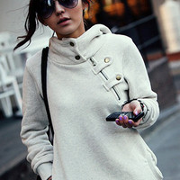 Buttoned Collar Hood with Zip Chest Accent Sweater
