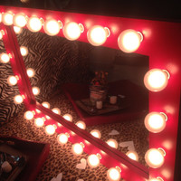 """Lighted vanity make up mirror called """" Valentine"""" A set of (24) (G50) globe lights included! Pine wood frame painted red with a clear coat."""