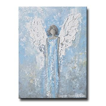 GICLEE PRINT Abstract Angel Painting Art Light Blue White Guardian Angel Palette Knife Fine Art Spiritual Wall Art