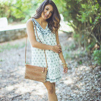 Embroidered Floral Shift Dress in White