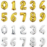 1pcs 16inch Charm Silver Gold Alphabet Helium Foil Balloon Number Balloons Birthday New Year party Wedding Decoration Balloon