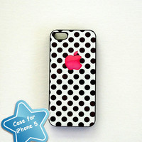 iPhone 5 Case Hot Pink and  Black Poka Dots - Ships from USA