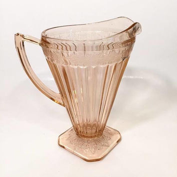 Pink Depression Glass Pitcher, Jeannette Adam Pink Glass Pitcher