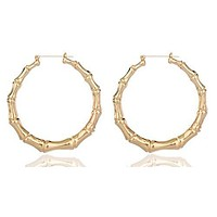 Goldtone 2.75 Inch Medium Bamboo Hoop Earrings