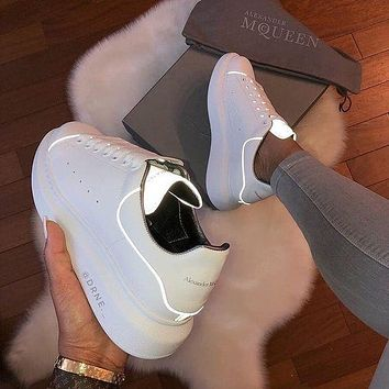 Alexander Mcqueen 19ss 3M Reflective Thick-soled Shoes Small White Shoes